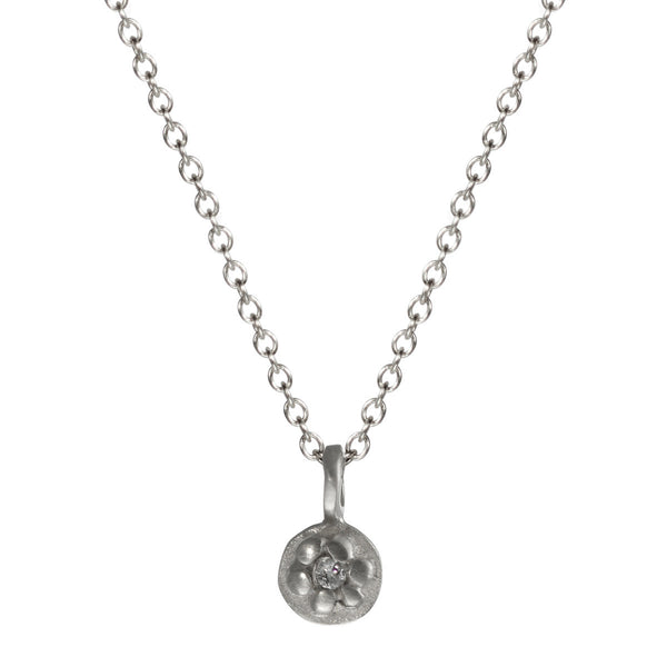 Children's Sterling Silver Tiny Flower Pendant with Diamond