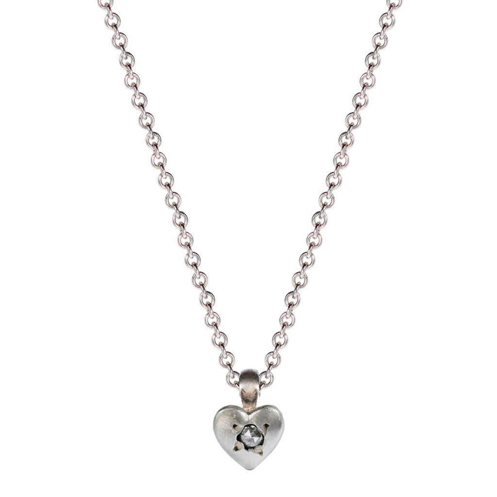 Children's Sterling Silver Tiny Heart Pendant with Diamond