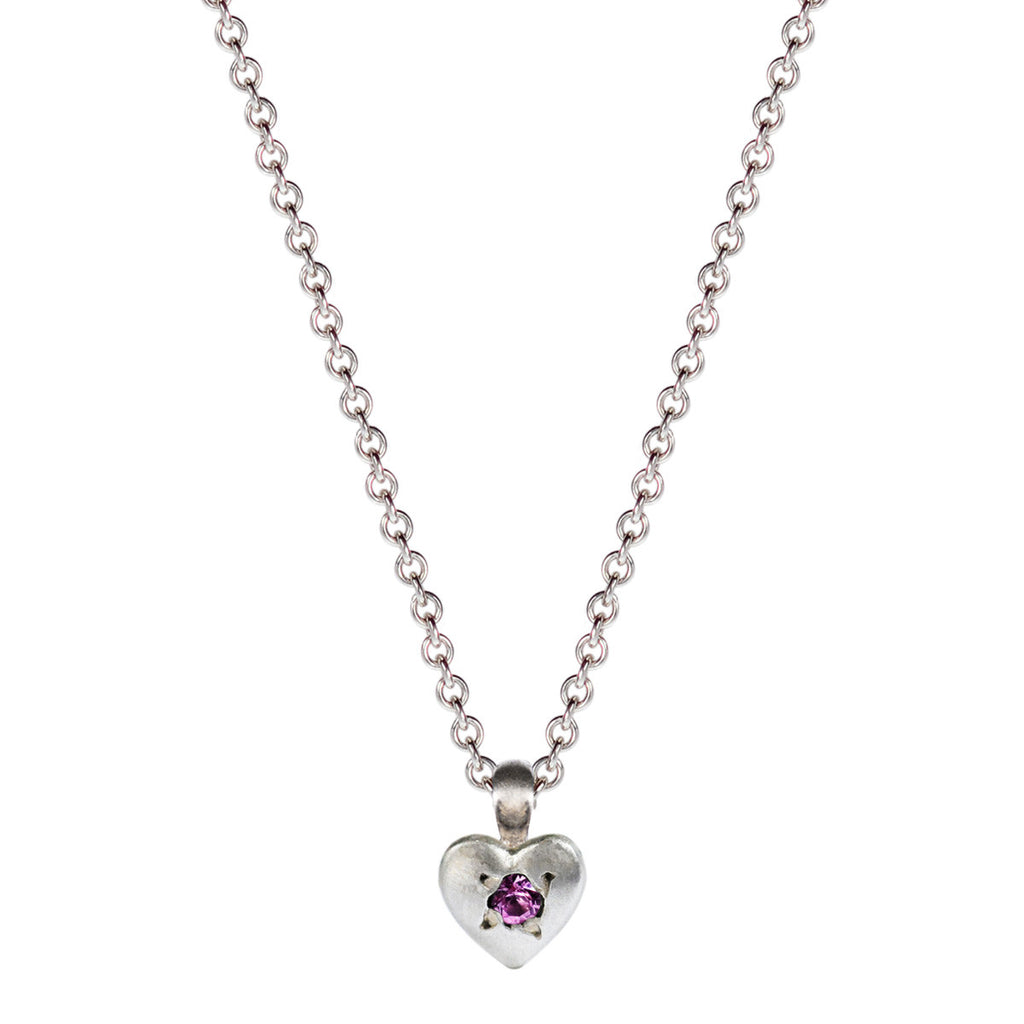 Children's Sterling Silver Tiny Heart Pendant with Pink Sapphire