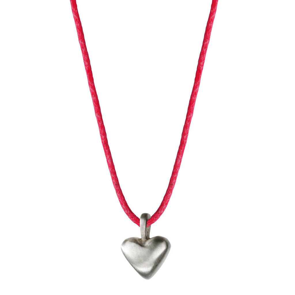 Children's Sterling Silver Medium Heart Pendant on Pink Cord