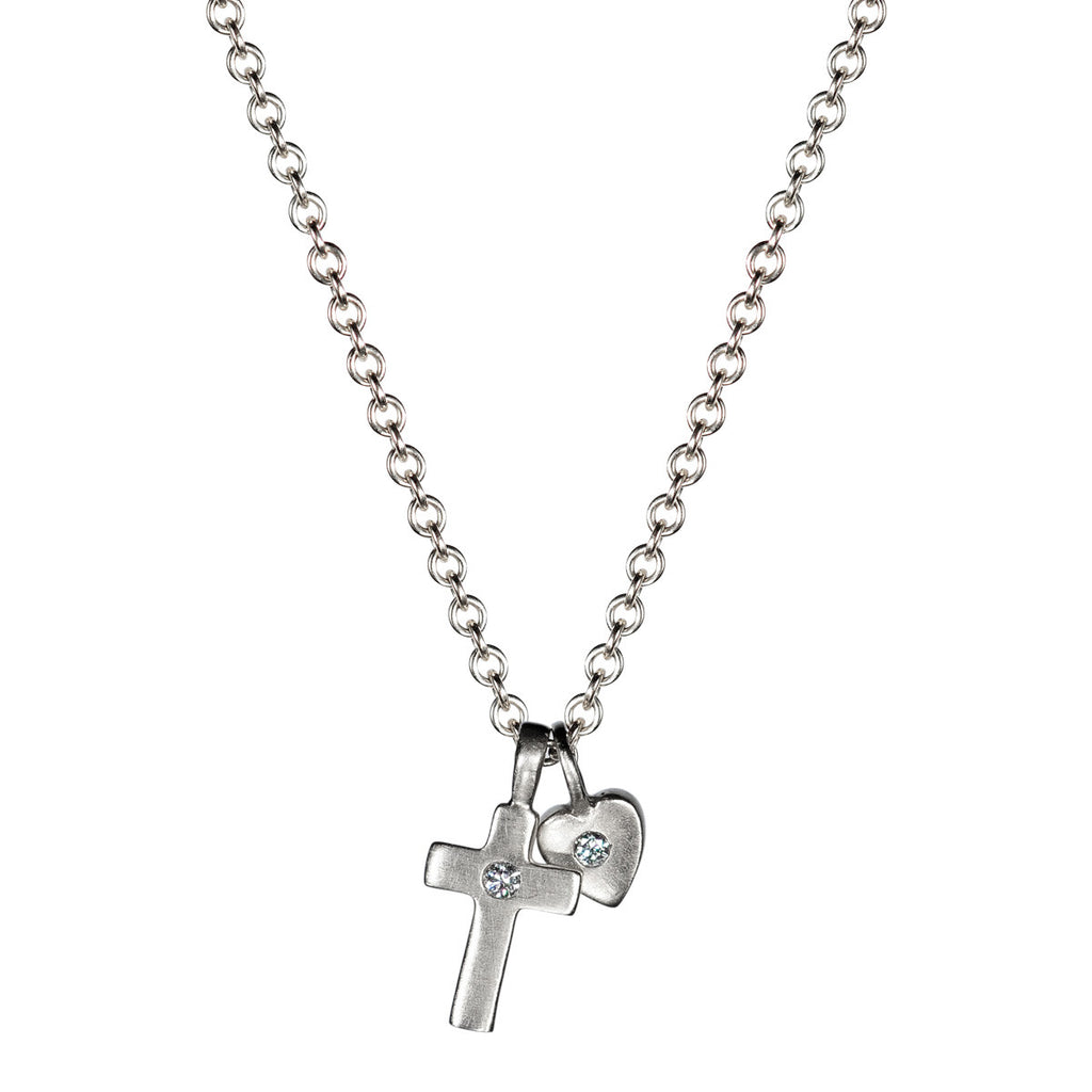 Children's Sterling Silver Heart and Cross Trinket with Stones