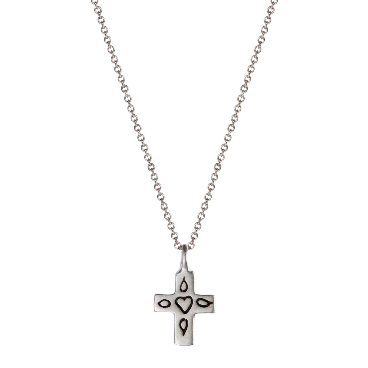 Sterling Silver Small Cross with Engraved Heart Pendant