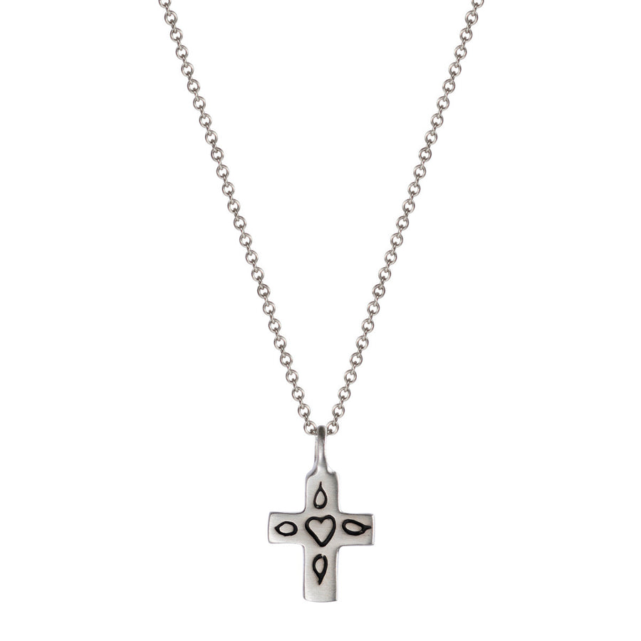 Silver 10k crosses mero sterling silver small cross with engraved heart pendant mozeypictures Choice Image