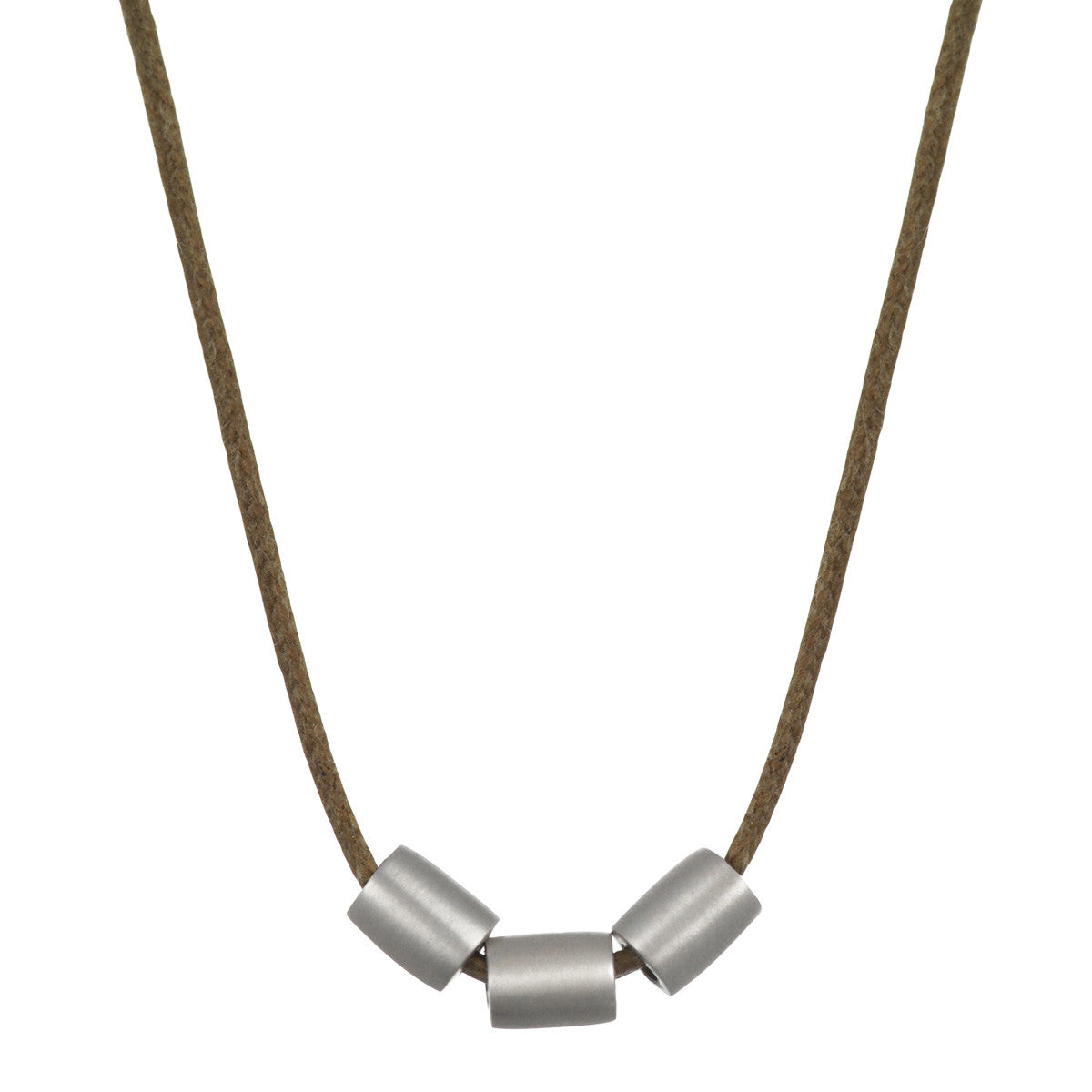 Men's Sterling Silver Simple Three Bead Tube Pendant on Natural Cord
