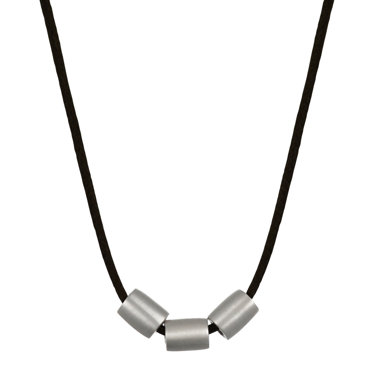 Men's Sterling Silver Simple 3 Bead Pendant on Black Cord