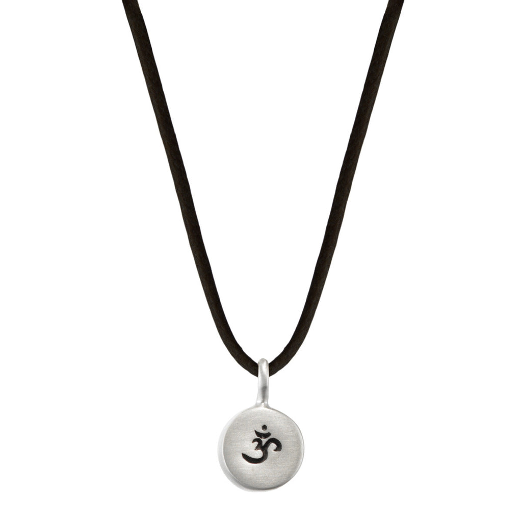Sterling Silver Om Drum Pendant on Black Cord