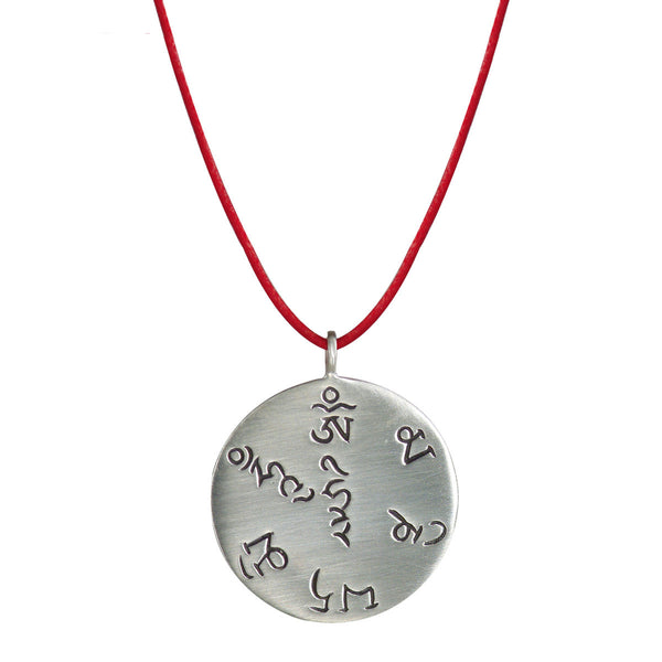 Sterling Silver Tibet Fund Pendant on Red Cord