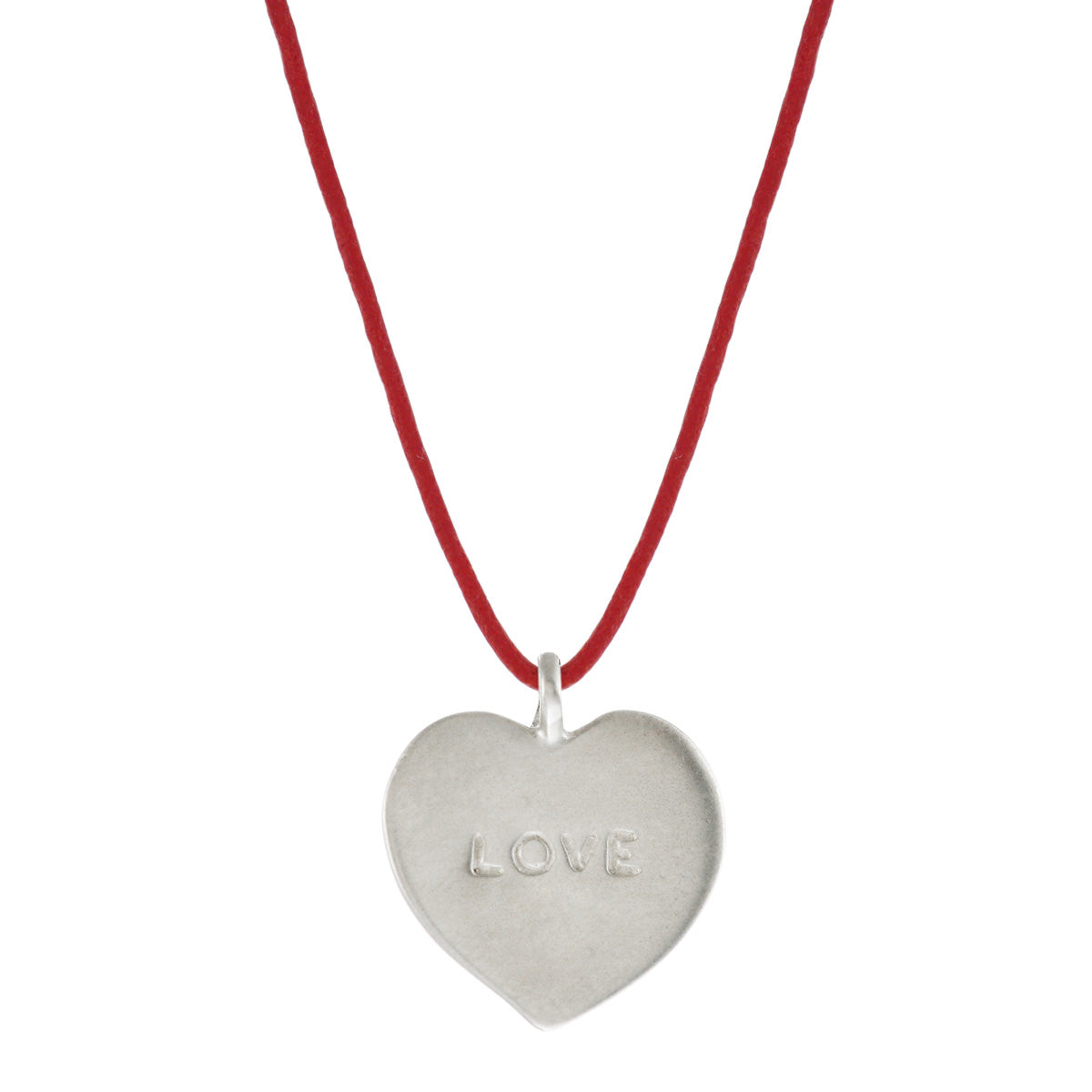 Sterling Silver 'Love' Heart Pendant on Red Cord