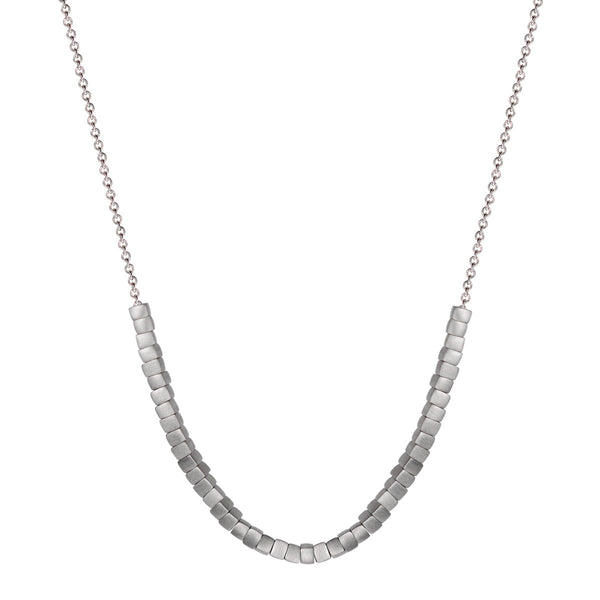 Sterling Silver 45 Square Bead Necklace