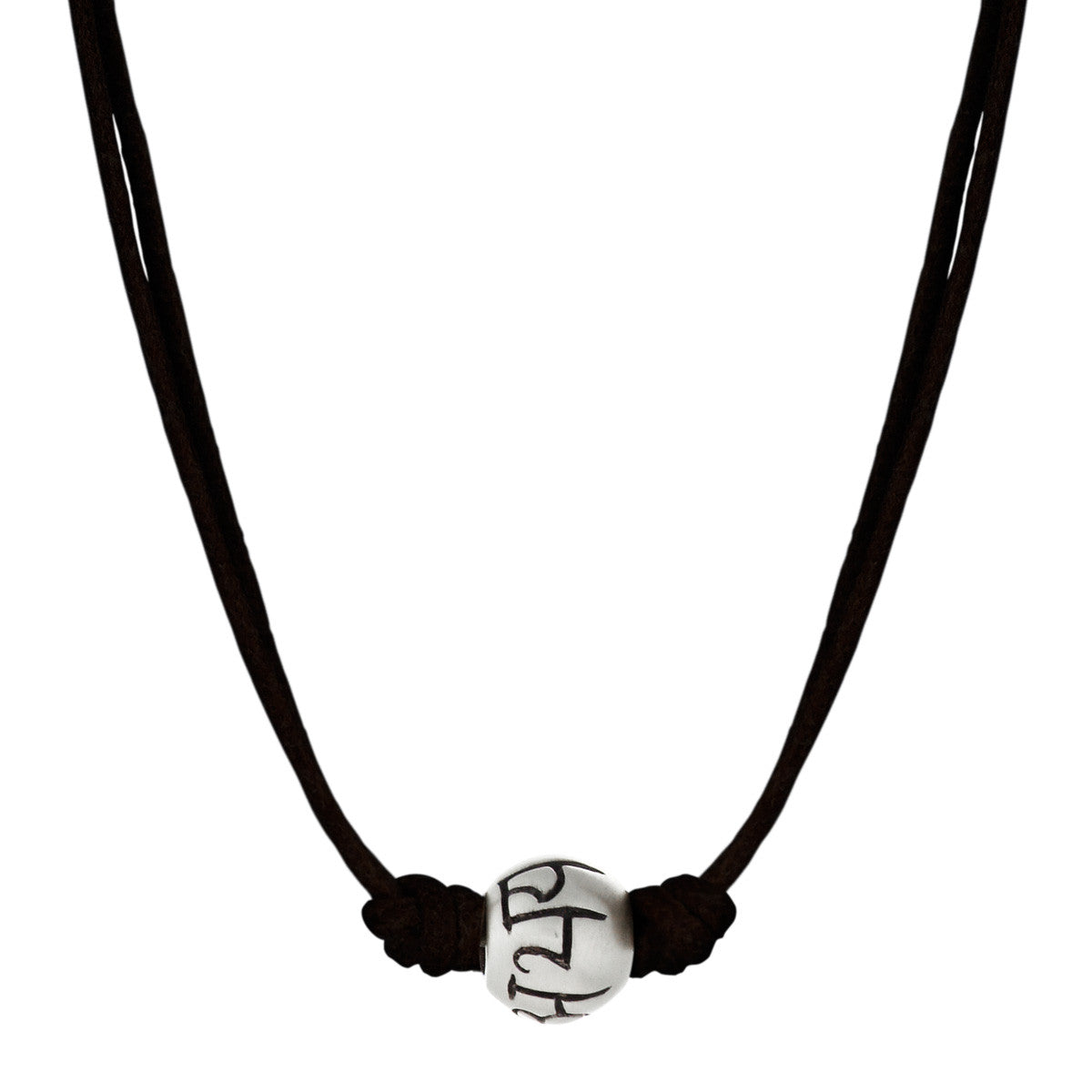 Men's Sterling Silver 'Fearlessness' Bead Pendant on Black Cord