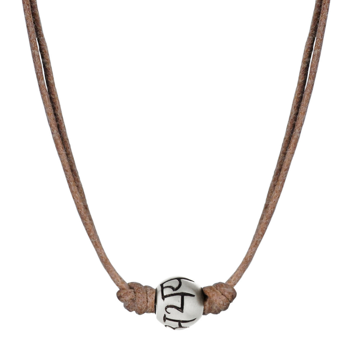 Men's Sterling Silver 'Fearlessness' Bead Necklace on Natural Cord