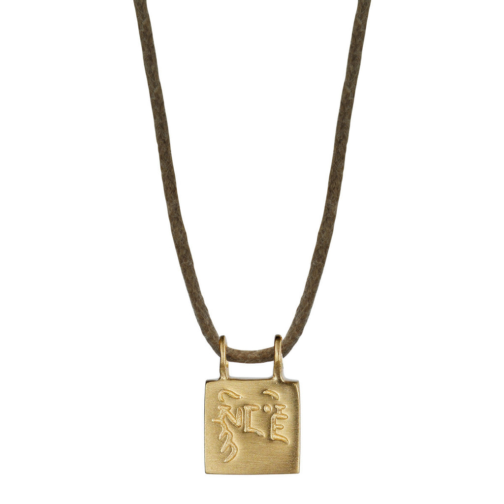 10K Gold Compassion Slate Pendant on Natural Cord
