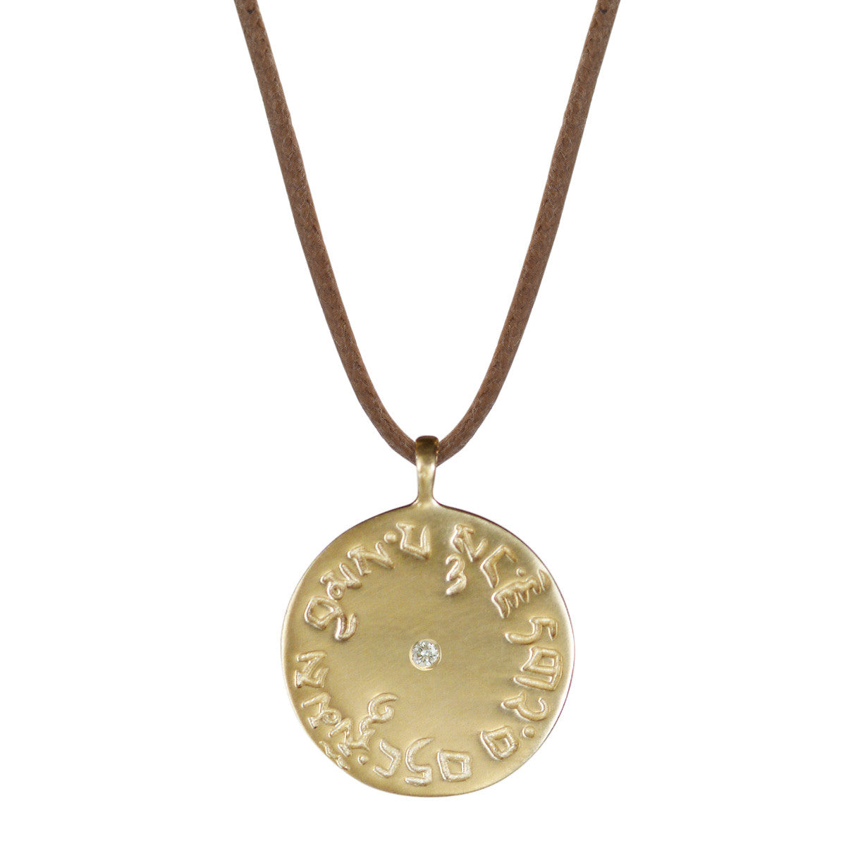 10K Gold Four Immeasurables Medallion Pendant with Diamond on Cord