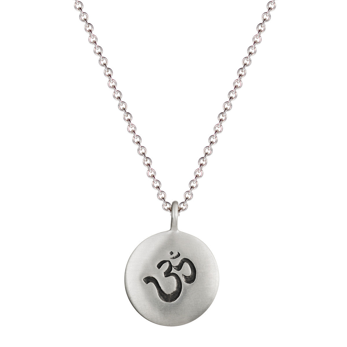 Men's Sterling Silver Medium Om Pendant on Chain