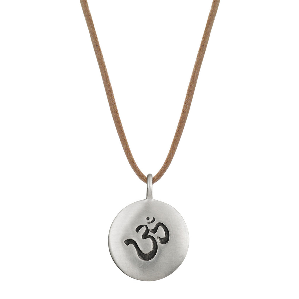 Sterling Silver Medium Om Pendant on Cord