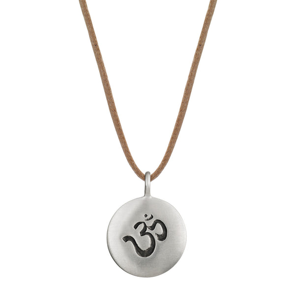 Men's Sterling Silver Medium Om Pendant on Cord