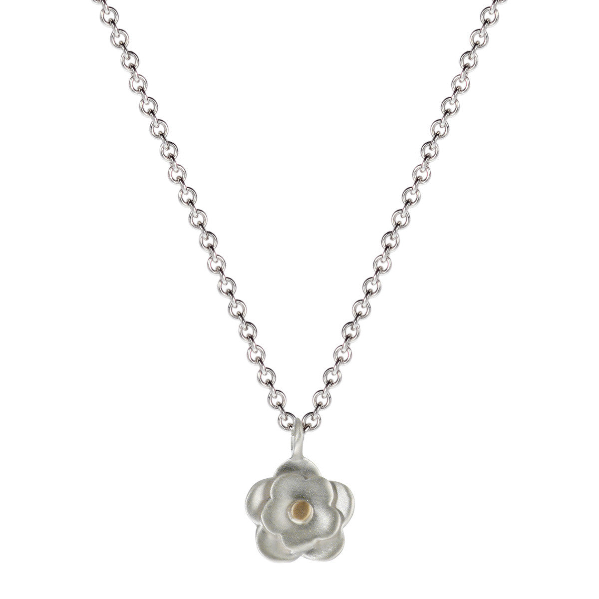 Sterling Silver & 10K Gold Small Double Flower Pendant