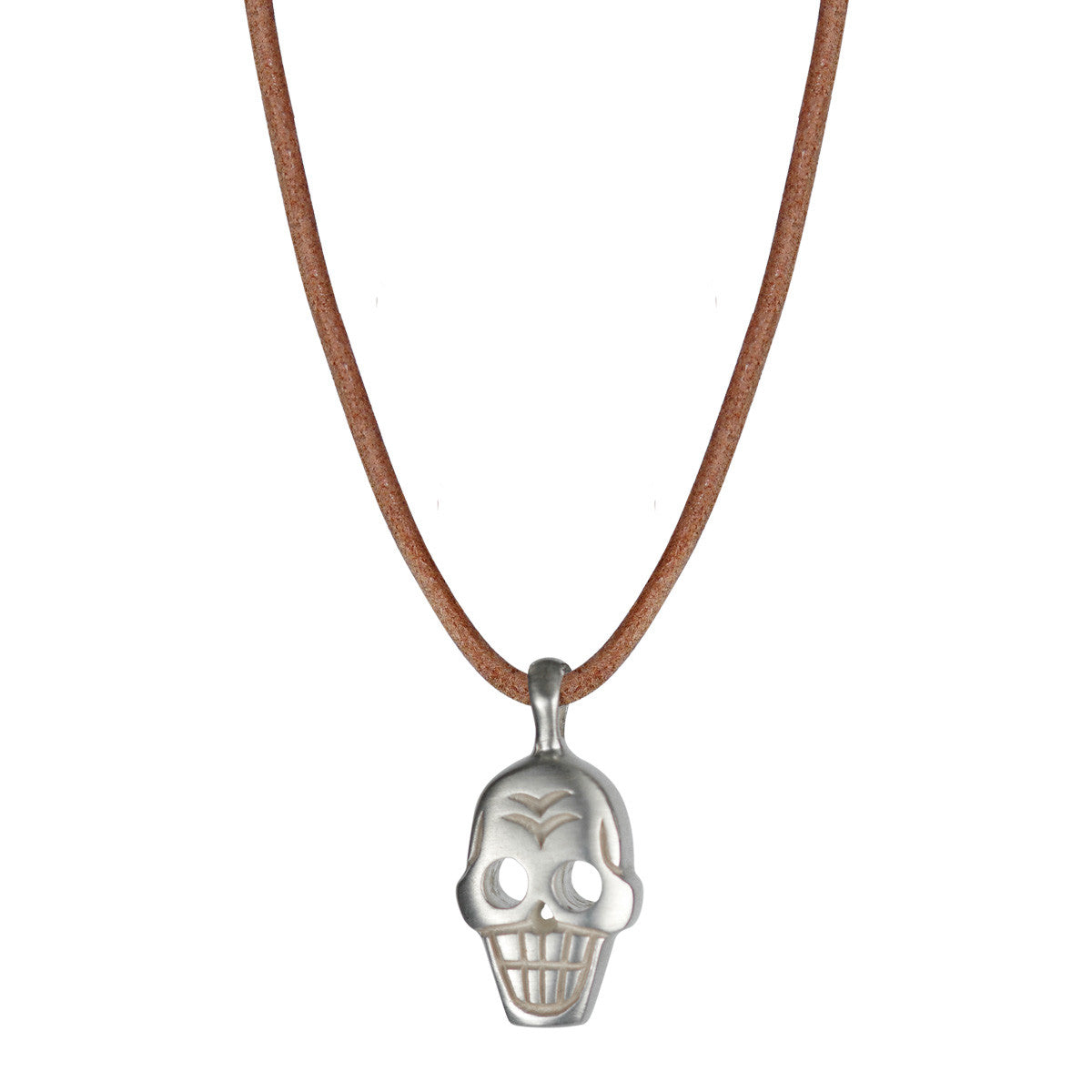 Men's Sterling Silver Large Skull Pendant on Natural Leather