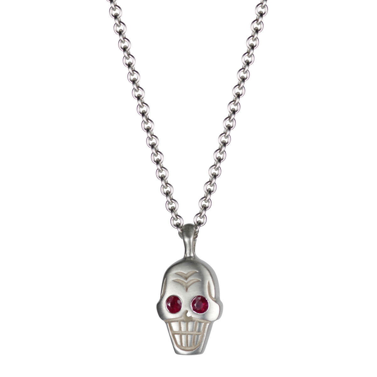 Men's Sterling Silver Large Skull Pendant with Ruby Eyes