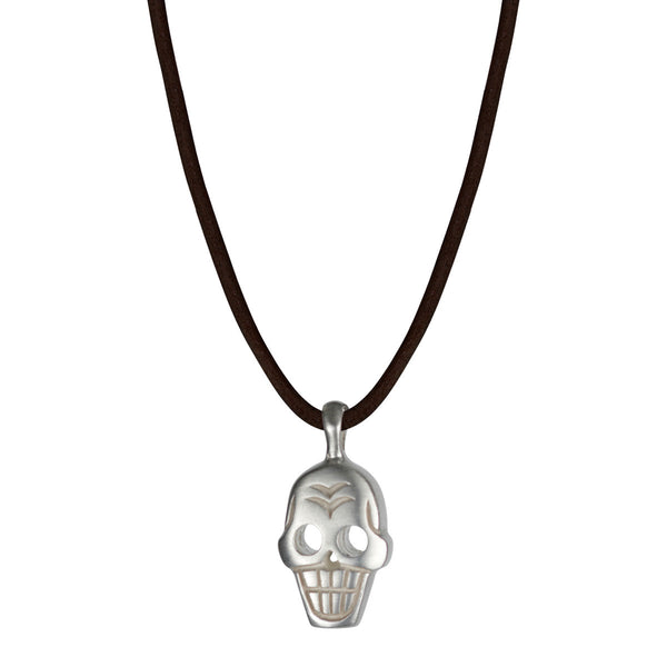 Men's Sterling Silver Large Skull Pendant on Black Leather