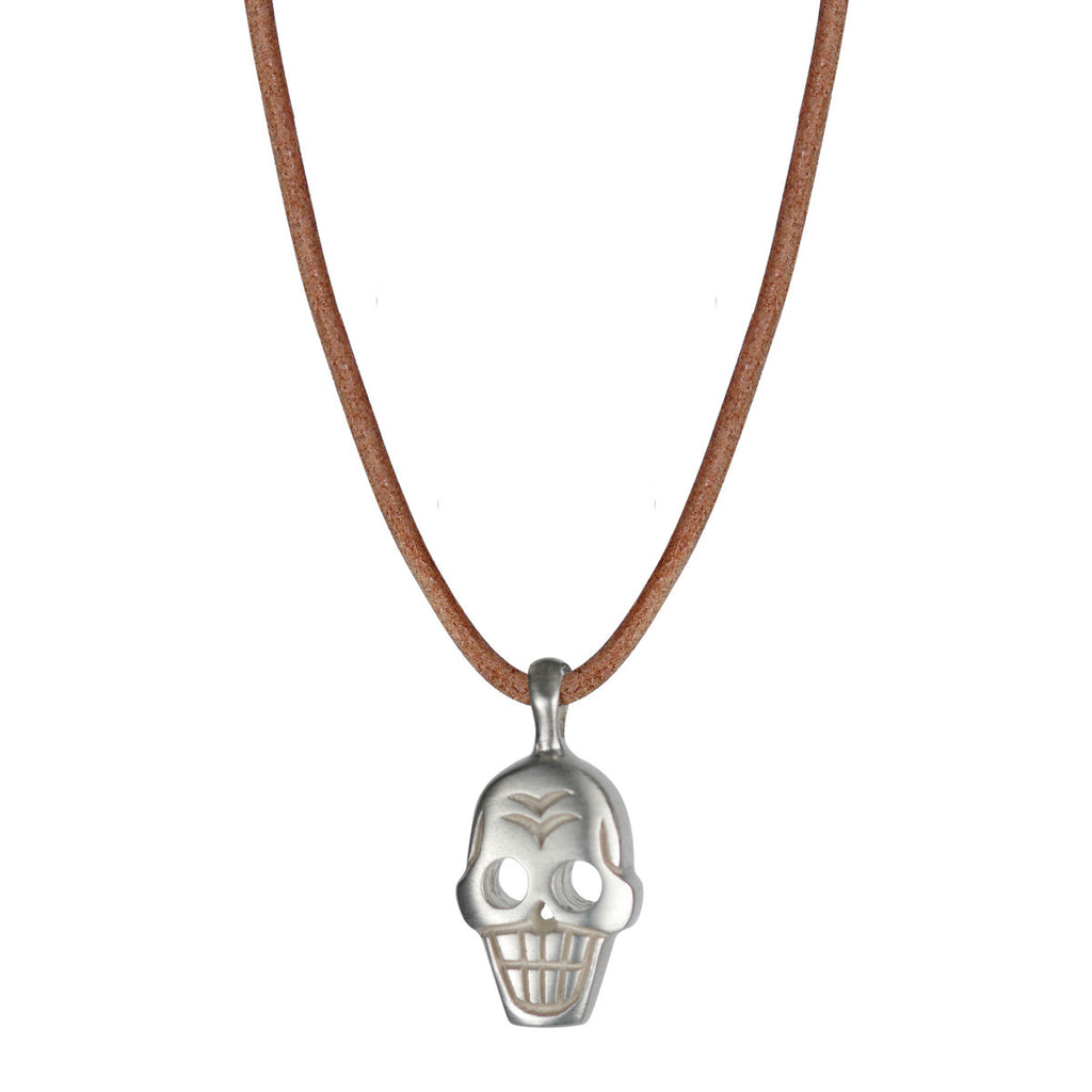 Sterling Silver Large Skull Pendant on Natural Leather