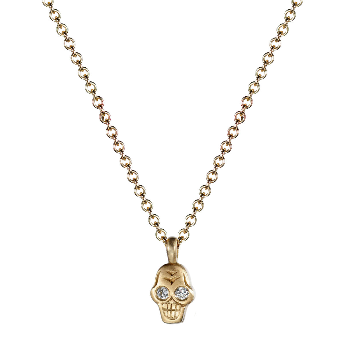 10K Gold Tiny Skull Pendant with Diamond Eyes