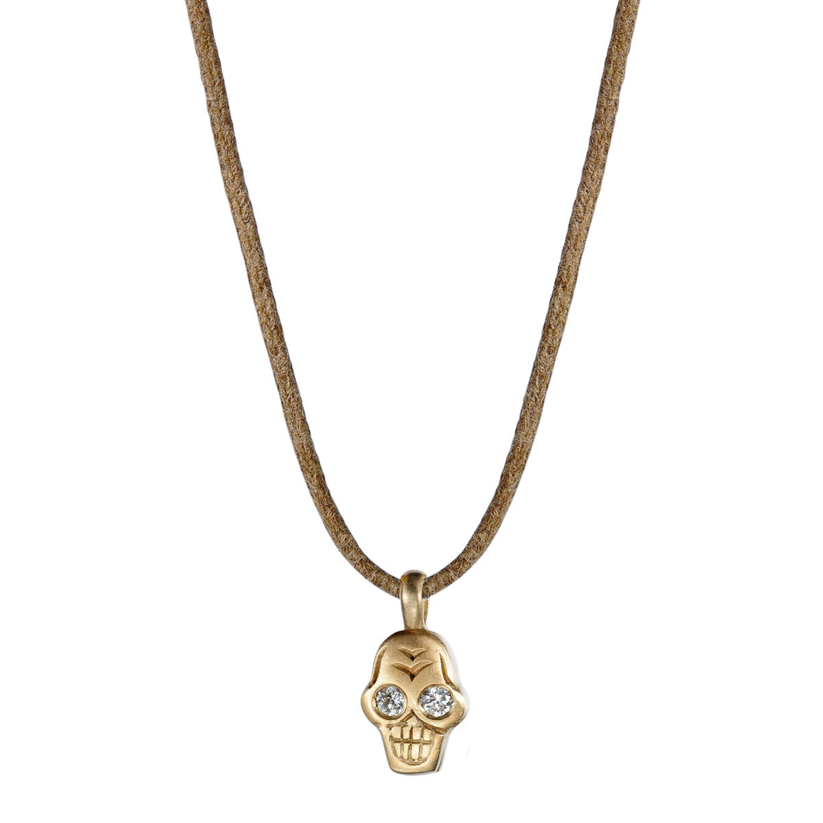 10K Gold Tiny Skull Pendant with Diamond Eyes on Natural Cord