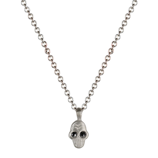 Sterling Silver Tiny Skull Pendant with Black Diamond Eyes