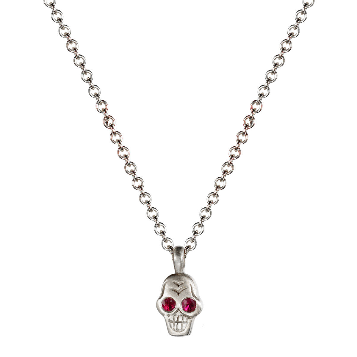 Sterling Silver Tiny Skull Pendant with Ruby Eyes