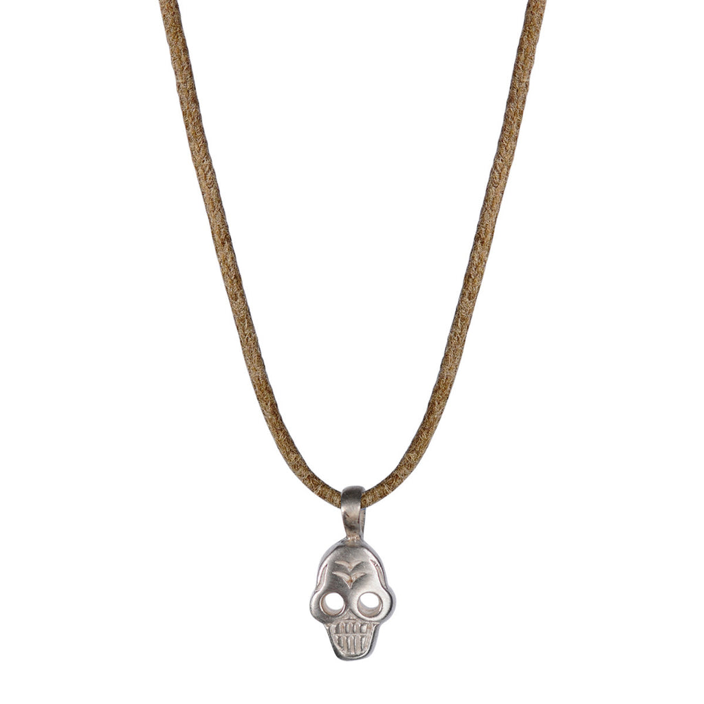 Children's Sterling Silver Tiny Skull Pendant on Cord