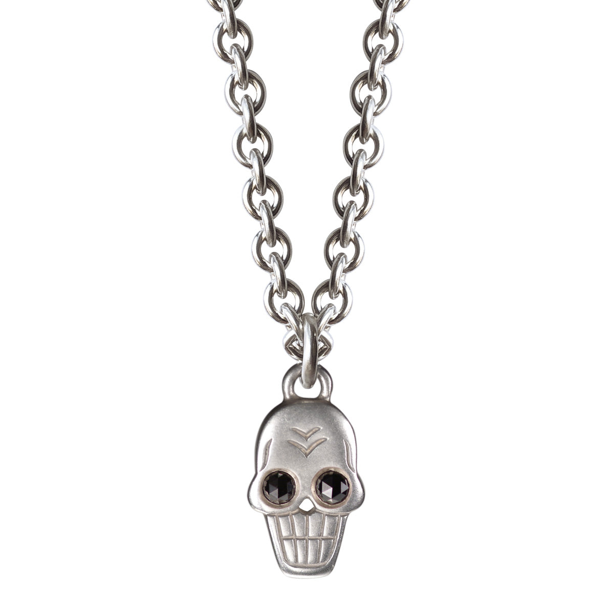 Men's Sterling Silver Large Skull Chain with Diamond Eyes