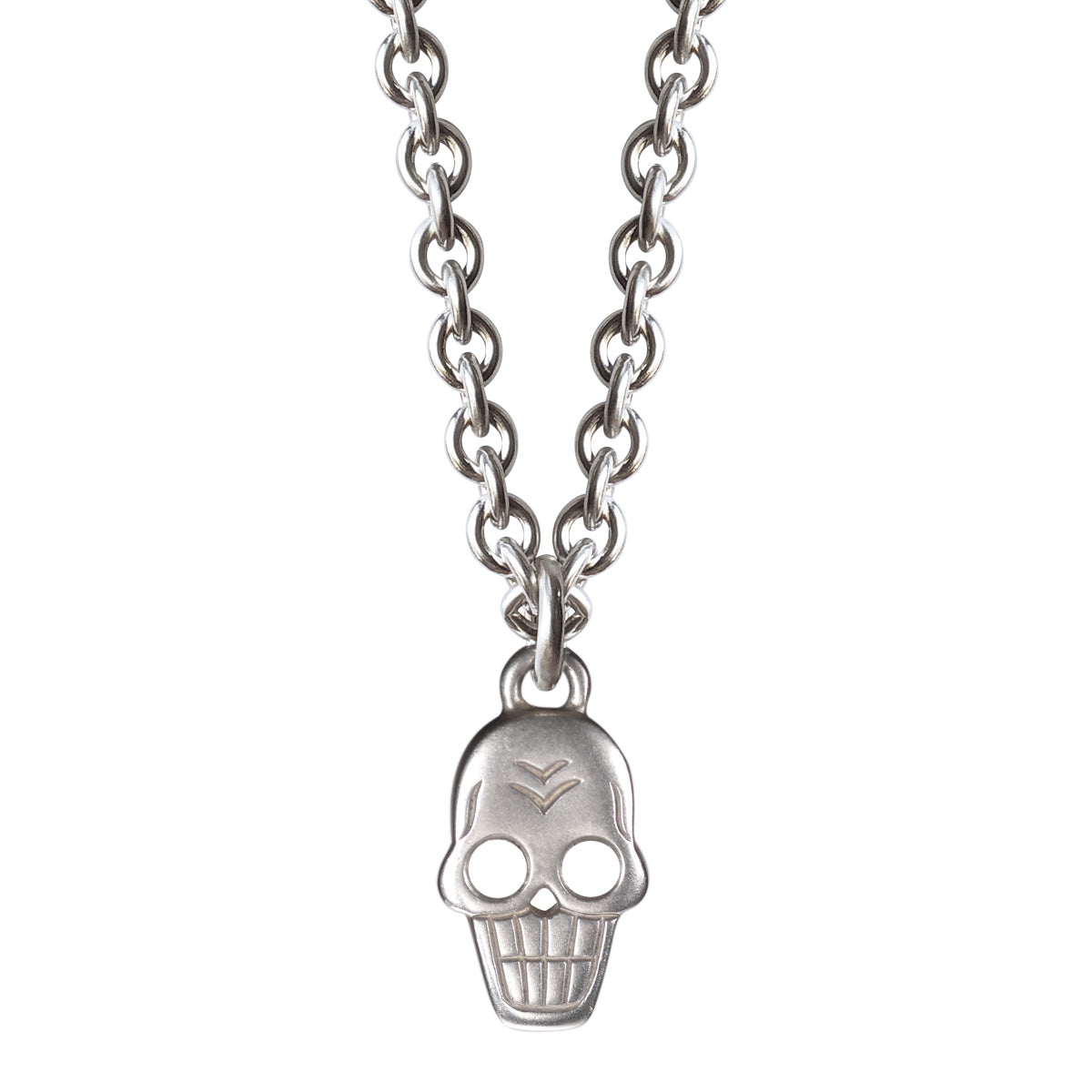 Men's Sterling Silver Large Skull Chain