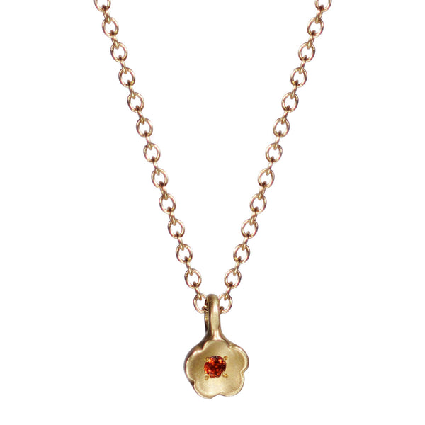 10K Gold Buttercup Pendant with Garnet