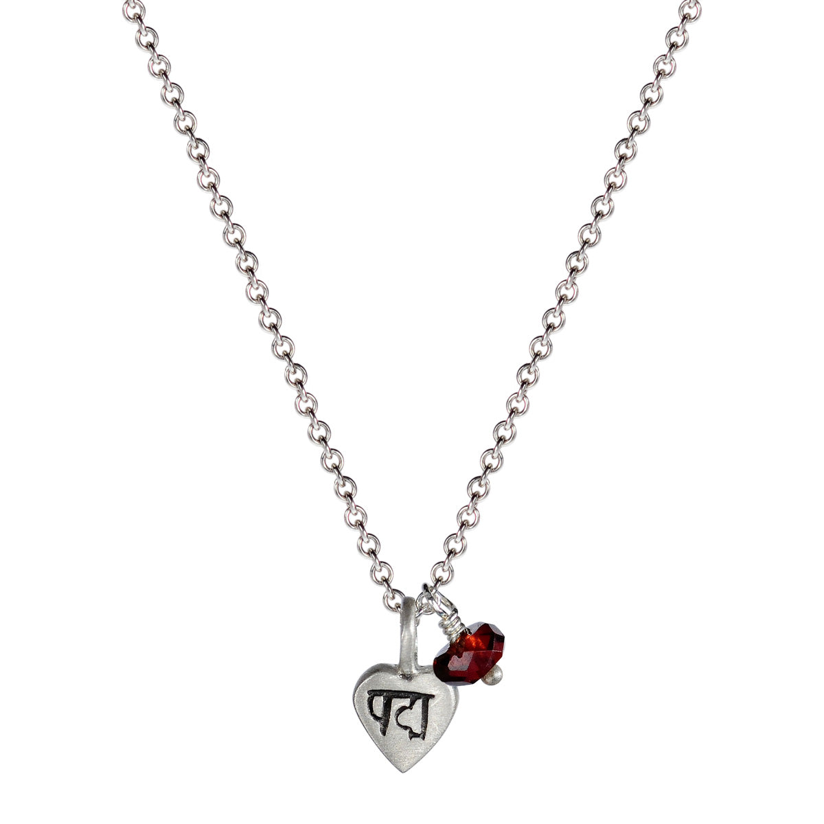 Sterling Silver Tiny Lotus Heart Pendant with Garnet Bead