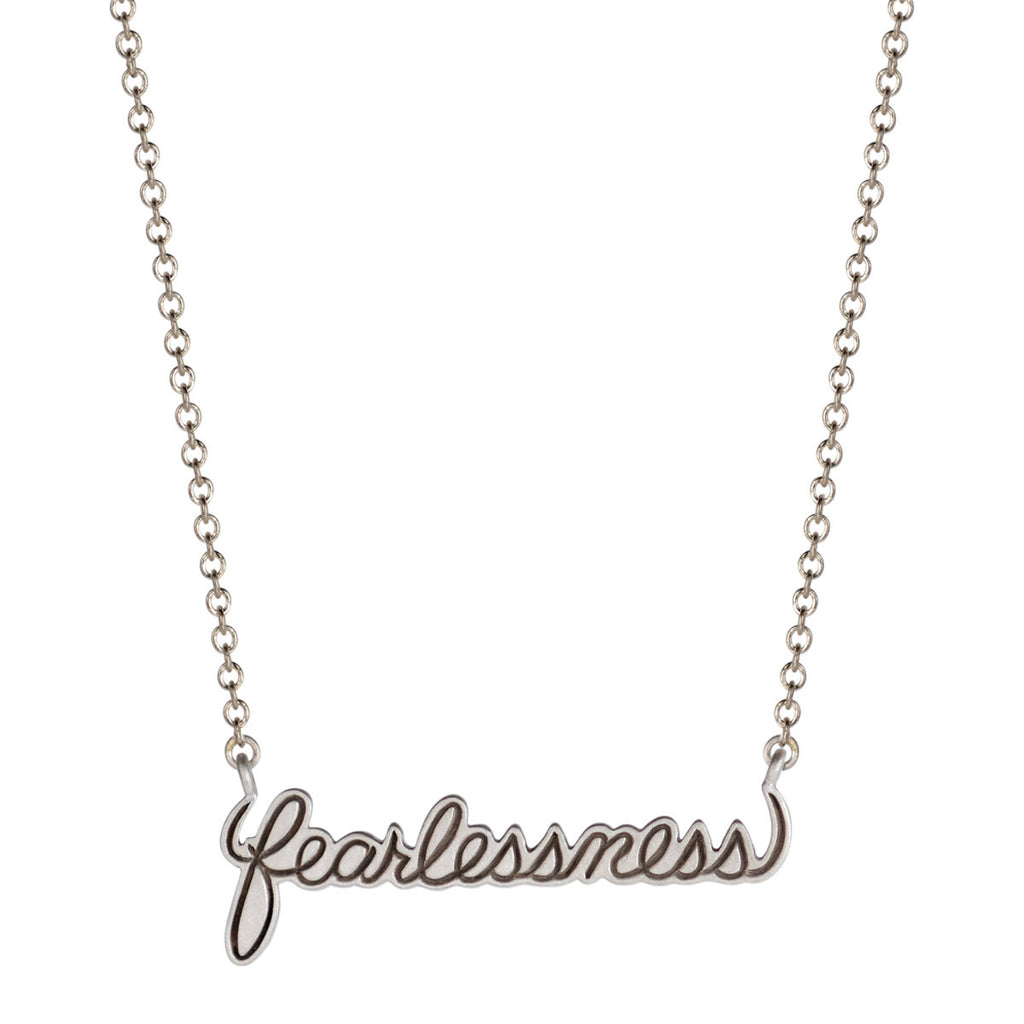 Sterling Silver Fearlessness Script Pendant