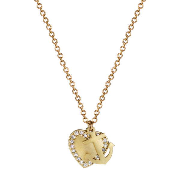 18K Gold New York Presbyterian Heart and Anchor Pendant with Diamonds