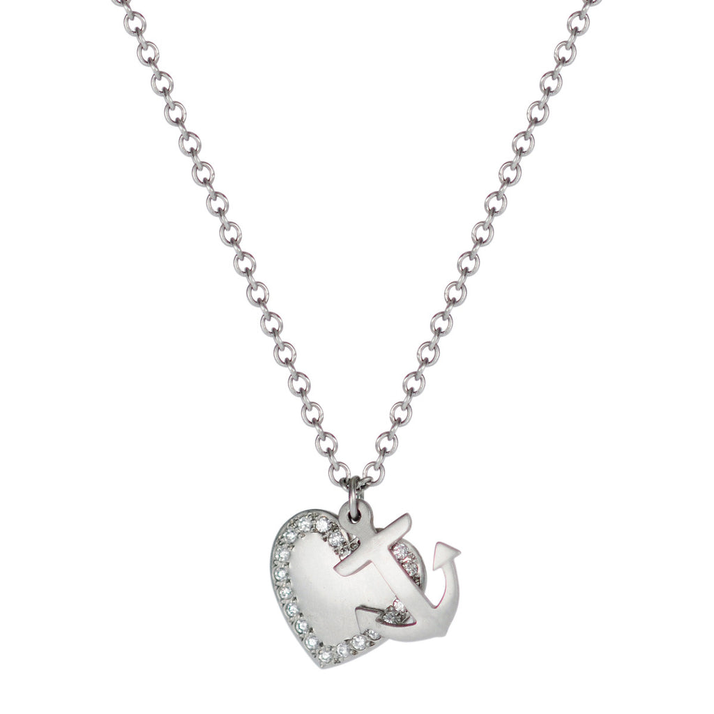 Platinum New York Presbyterian Heart and Anchor Pendant with Diamonds