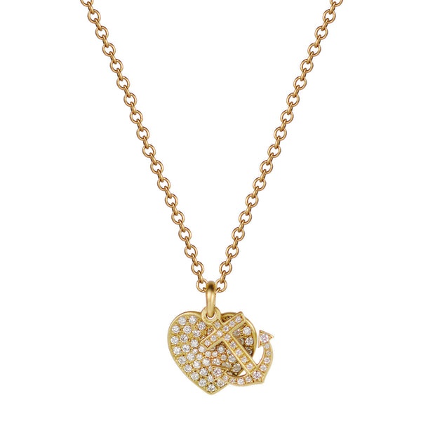 18K Gold New York Presbyterian Pav̩e Heart and Anchor Pendant