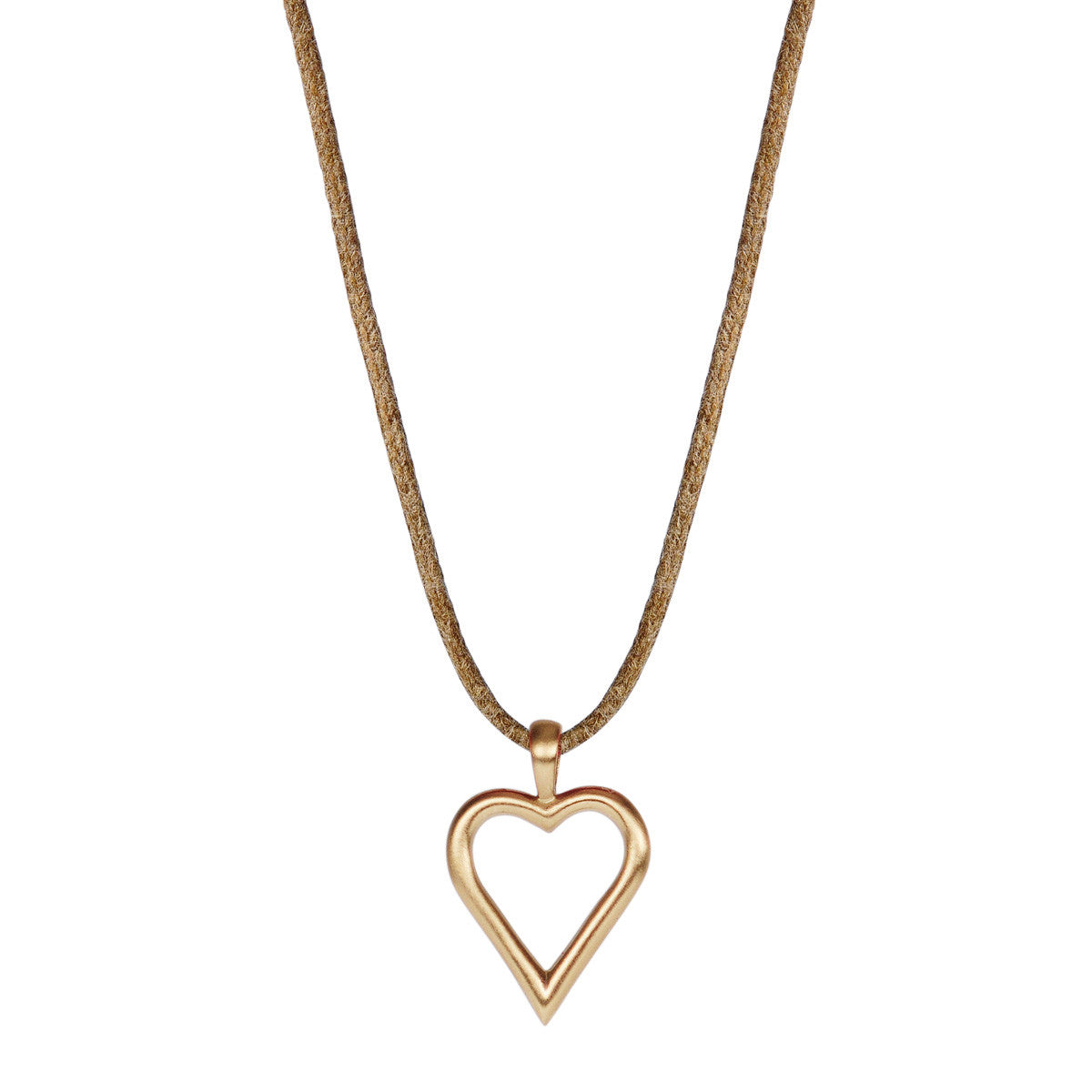 10K Gold Joyful Heart Foundation Open Heart Pendant on Natural Cord