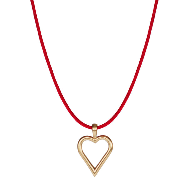 10K Gold Joyful Heart Foundation Open Heart Pendant on Red Cord