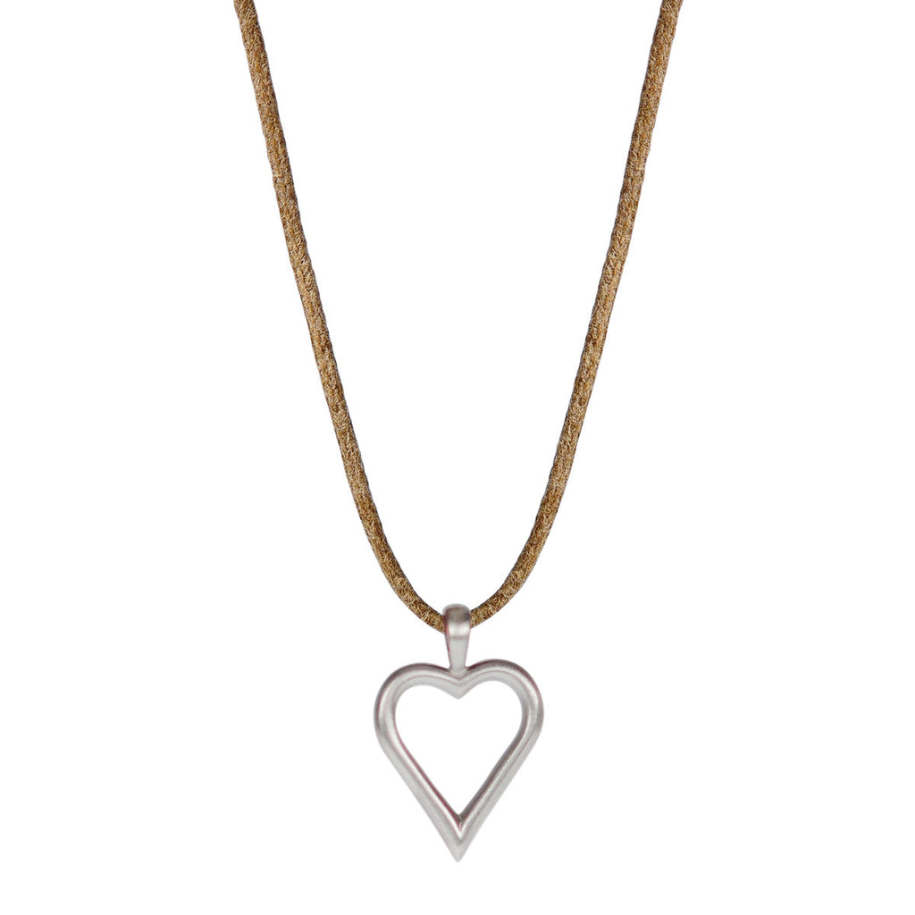 Sterling Silver Joyful Heart Foundation Open Heart Pendant on Natural Cord