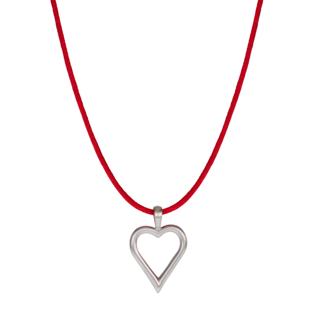 Sterling Silver Joyful Heart Foundation Open Heart Pendant on Red Cord