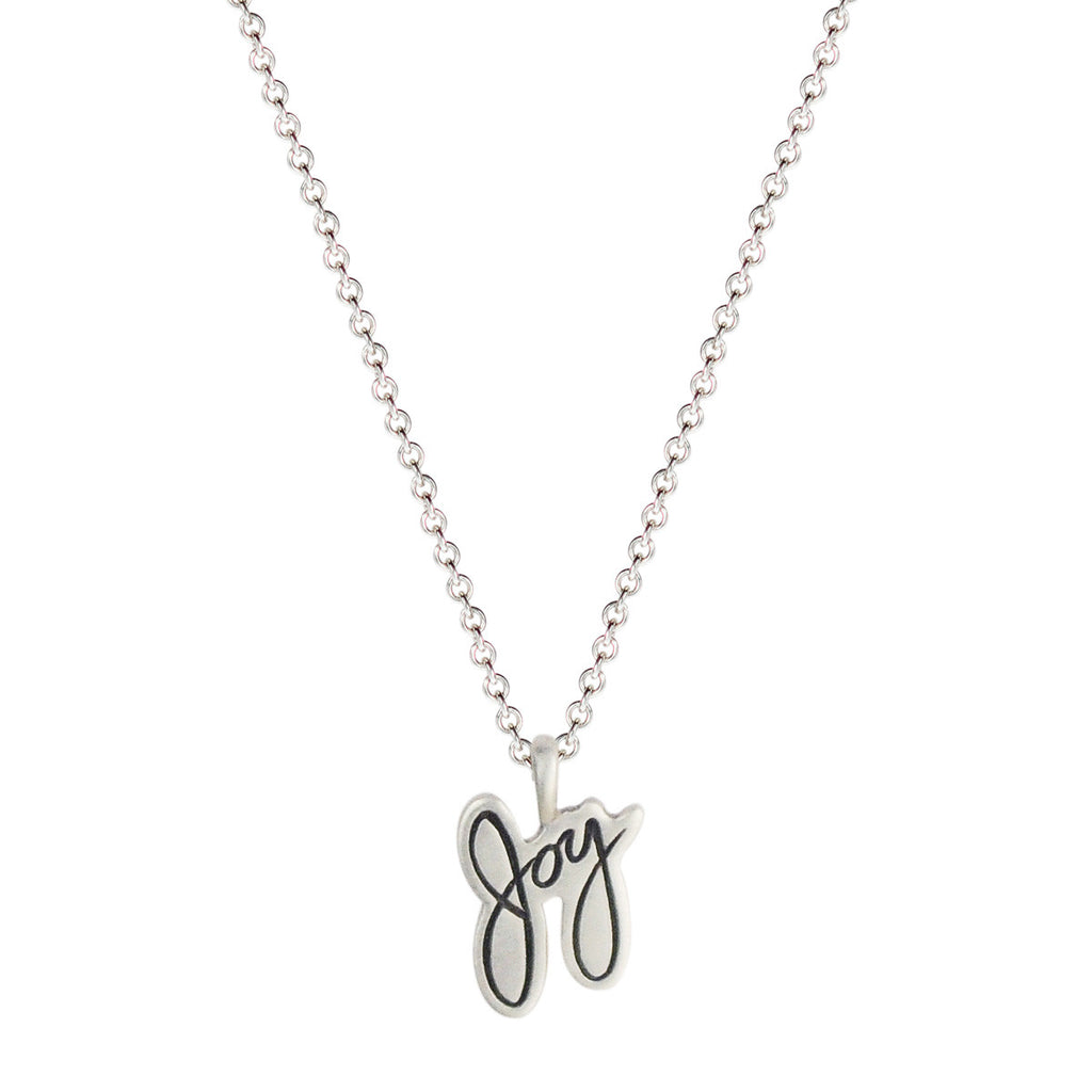 Sterling Silver Engraved Joy Pendant