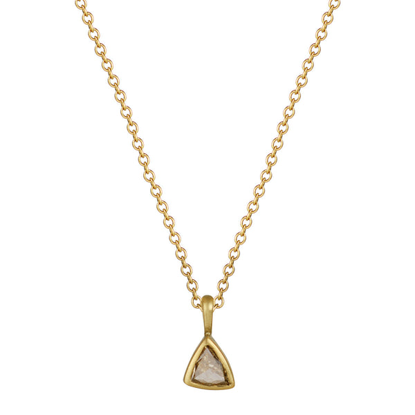 18K Gold Pale Olive Green Trillion Diamond Pendant