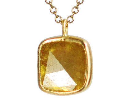 18K Gold Yellow Diamond Slice Pendant