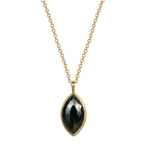 18K Gold Marquise Black Diamond Pendant