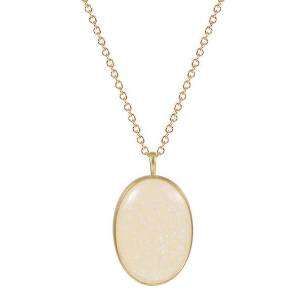 18K Gold Large Oval Opal Pendant