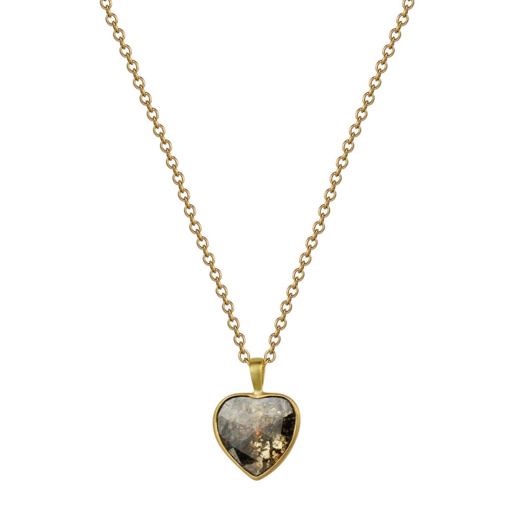18K Gold Diamond Heart Slice Pendant