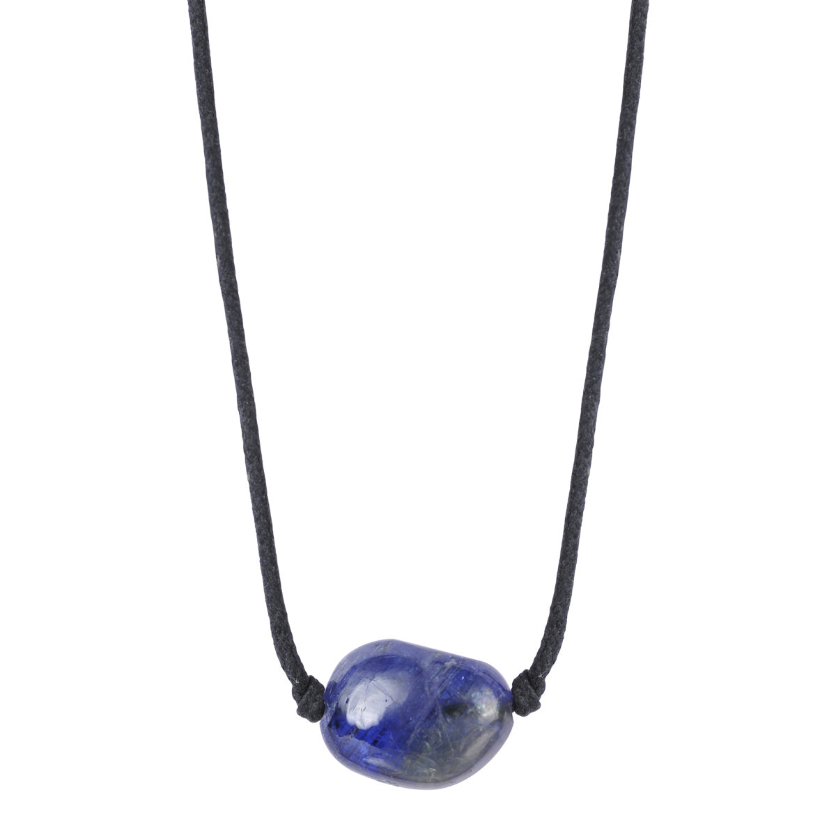 18K Gold Tanzanite Bead Pendant on Cord