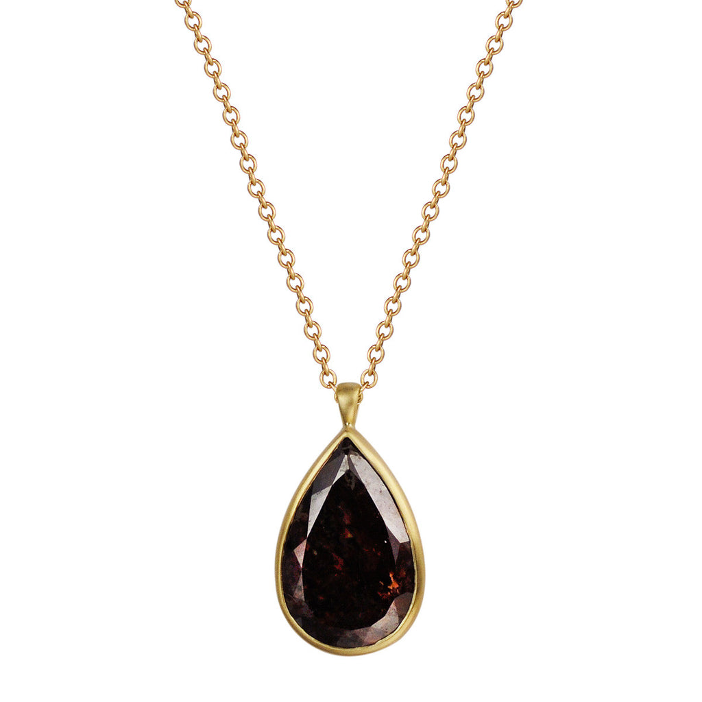 18K Gold Pear Shape Opaque Diamond Pendant